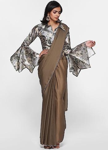 Diya Online - Elegant Satin Contrast Floral Print Blouse Saree  Shop Now - https://www.diyaonline.com/elegant-satin-contrast-floral-print-blouse-saree.html  #diyaonline #roposodiaries #suit #saree #lehengas #trendyoutfit #eid2019 #womencollection #roposo #floraldresses