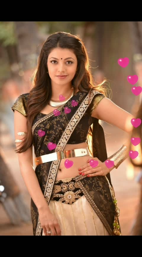 #kajalaggarwal in black saree