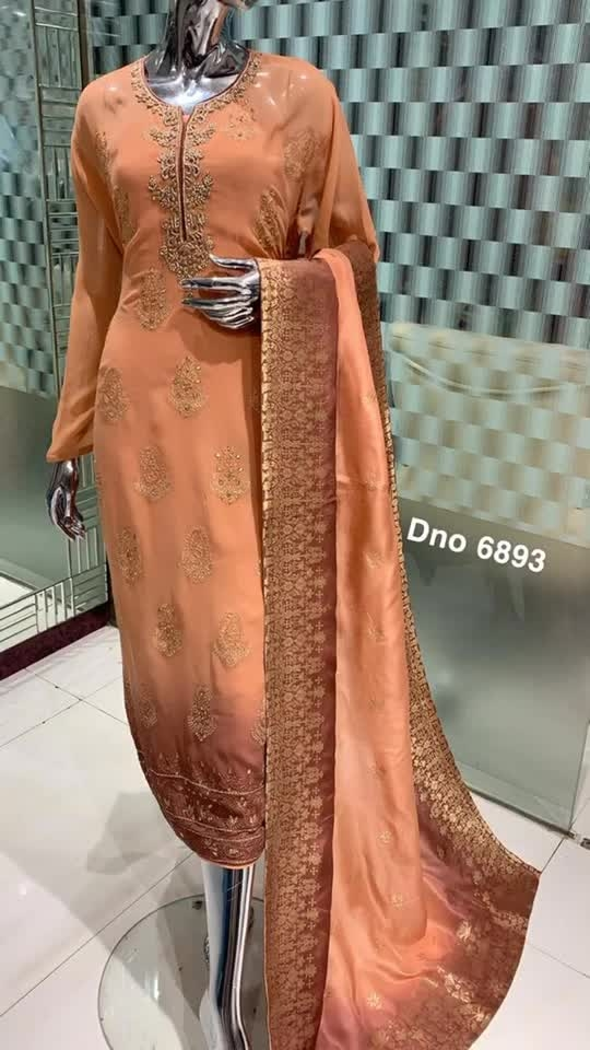 Rate:4250/-  D.no: 6893 Shirt Fabric: Georgette Specification: Booty spread across the shirt Duppta: Brocade work Bottom: Crape