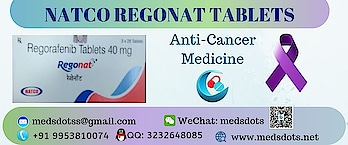 Buy Indian Regorafenib 40mg tablets from MedsDots , who cares about your health and help to provide Regonat 40mg Tablets all over world like USA, Hong Kong, China, Australia, UK, UAE, Jordan, Saudi Arabia, Pakistan, Malaysia, Singapore, Ukraine, Russia, Vietnam, Philippines, Poland, Venezuela, Romania, Hungary, Taiwan, New Zealand, Ecuador, Thailand etc and  many more. Regonat 40mg Tablets is manufactured by Natco Pharma. Regorafenib 40mg tablets is used to treat various types of cancer like rectum and colon, Liver Cancer. You can buy Generic Stivarga 40mg tablets at reasonable price with MedsDots: The True Indian Pharmacy via WhatsApp/Viber/Telegram: +919953810074, QQ: 3232648085, Mail: medsdotss@gmail.com, WeChat: medsdots, Web: www.medsdots.net