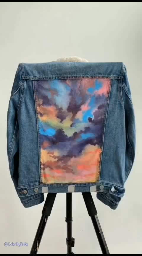 #cloudysky denim jacket painting😍😍🎨👨‍🎨#denimshirt #jacket #painiting #oilpainting #colour #art #roposo-structure #roposo-rising-star-rapsong-roposo #new #painter #artist #naturelover #creativespace