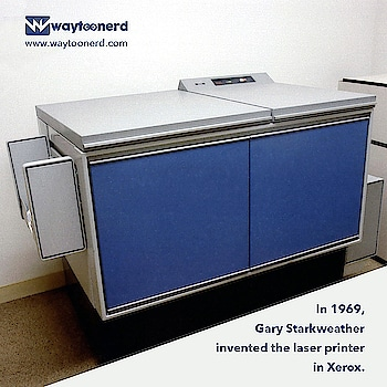 In 1969, Starkweather invented the #laser #printer at the #Xerox Webster #Research Center.  www.waytoonerd.com  #technology #tech #electronics #instatech #technews #geek #developer #startup #dailyfact #didyouknowfacts #funfacts #amazingfact #like #doyouknow #printing #print #canon #hp #windows #prints #epson #samsung #printerepson #office