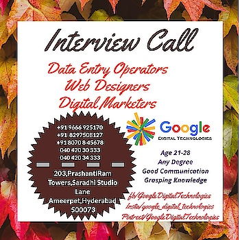 Drop your Resume googledigitaltechnologies@outlook.com  Best Digital Transformation Services company in Hyderabad  Contact +91 040 420 30 333 +91 040 420 34 333  For More Details www.googledigitaltechnologies.com  #digitalmarketing #seo   #SocialMediaMarketing #BrandPromotions #PromotionalVideos #LiveBroadCasting #HashTags #FacebookLikes #Followers #YoutubeViews #LogoCreation #WebDesigning #InstaFollowers #HostingServices #PollRating #BlogDesign