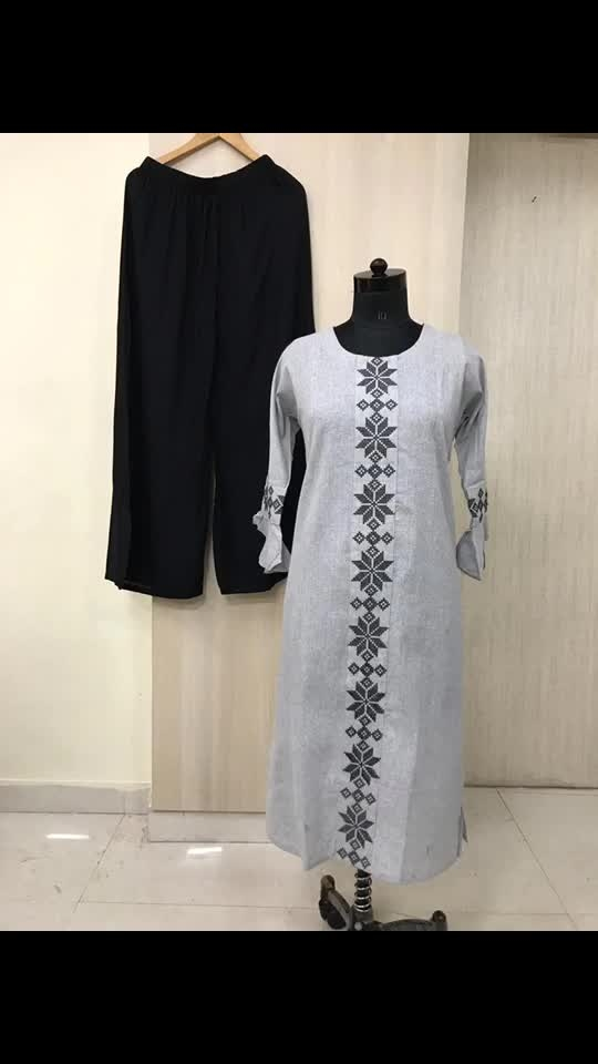 Rate:1250/-  Pure cotton long straight pattern smart wear kurti with katha stitch and thread work on body and on sleeves with premium rayon palazzos.  Size:Xxl, 3xl, 4xl and 5xl.