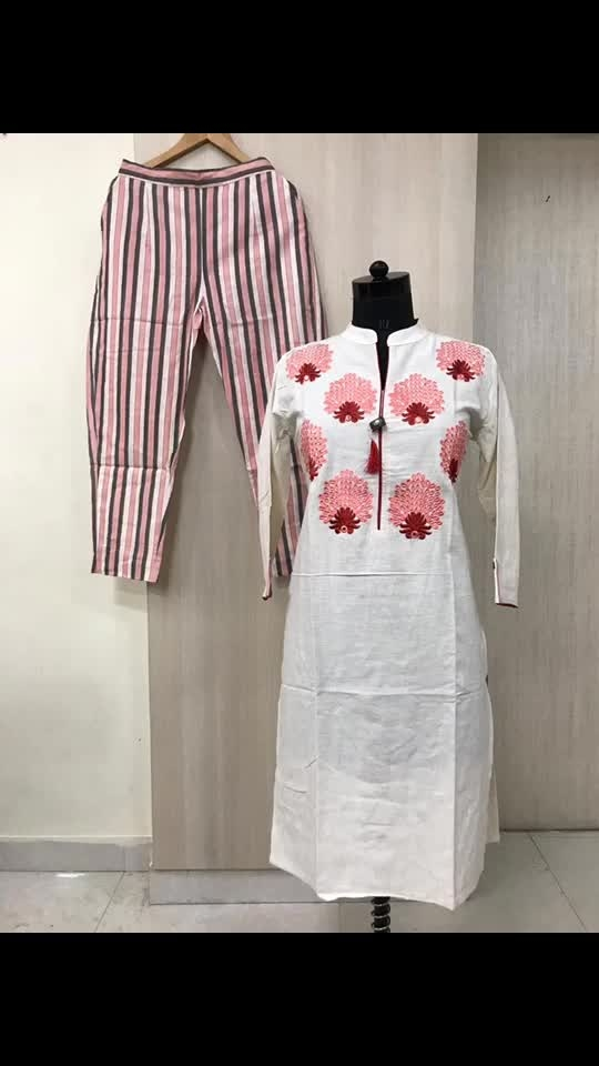 Rate:1250/-  Cotton flex straight pattern smart wear kurti with thread work with fancy button and tassels with cotton printed pants.  Size:M, L, Xl and Xxl.