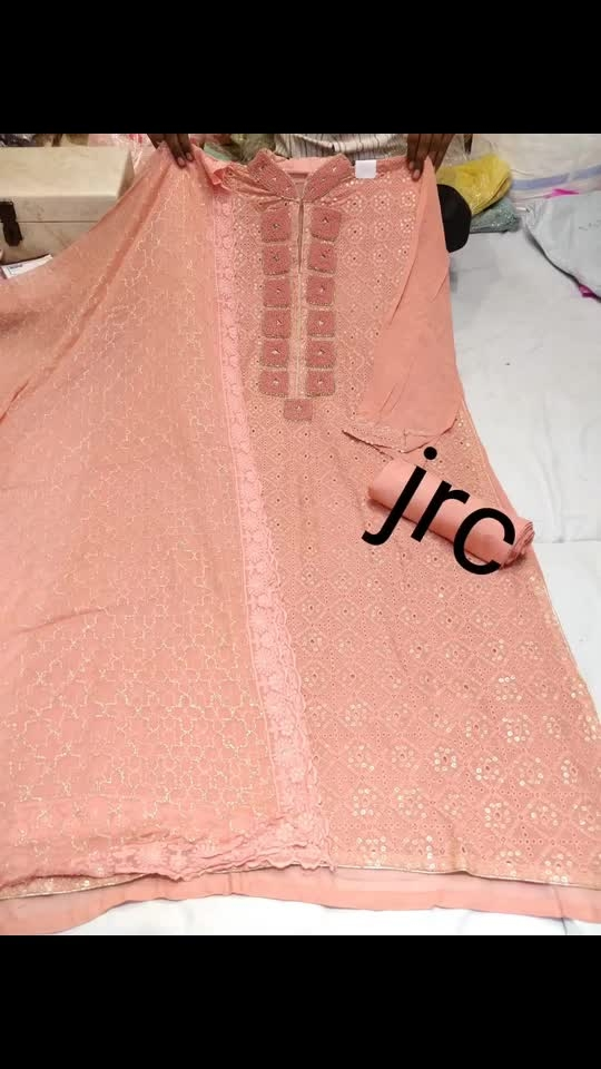 Rate:4250/-  Royal pure georget  shirt wd beautiful Lucknowi n mukaish work ... Wd beautiful handwork on neck knot work🥰🥰🥰.  Wd hevay Lucknowi  dupata 😍 😍😍 😍 wd shantoon bottom ..
