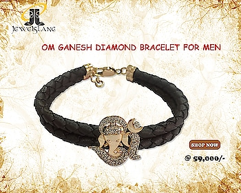 Om Ganesh Diamond Bracelet For Men. Visit - http://bit.ly/2wCpw2U #OmGaneshDiamondBracelet #OmGanesh #DiamondBracelet #goldbracelets #Bracelets #jewelslane #aumkaara #shopjewellery #onlinejewellery #handmadejewellery #jewelrygifts
