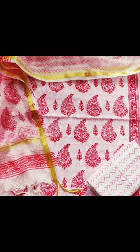 Cotton hand block print suit with kotadoria dupatta @1550/+ship RHF