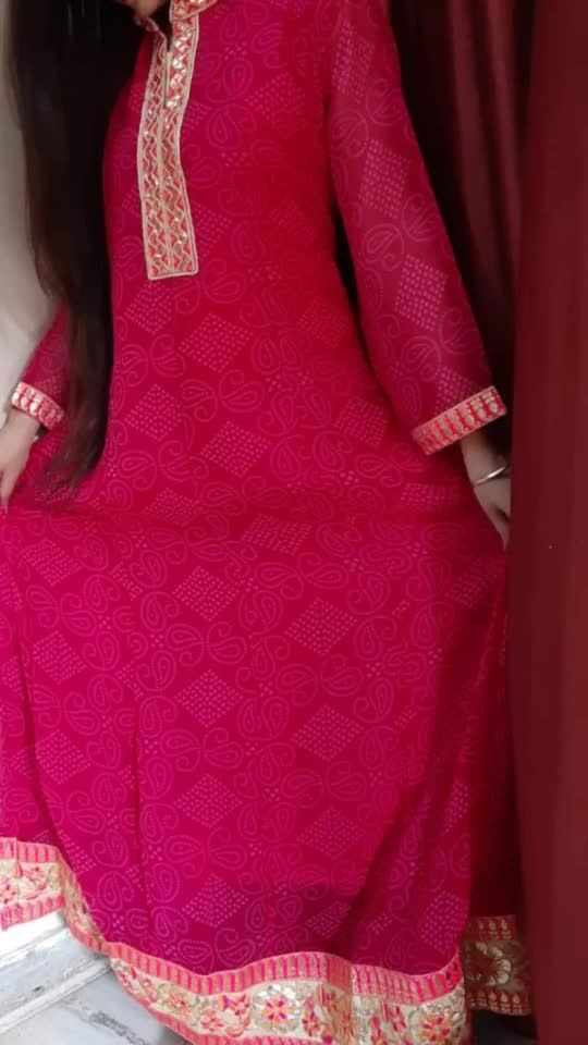 Rate:1350/-  *_Beautiful long lehriya gown in round neck with gotta  handwork work and bukram for fall_*  Material- Georgette  with lining Size-40/42/44 Length-51inches  Ready to despatch 💕