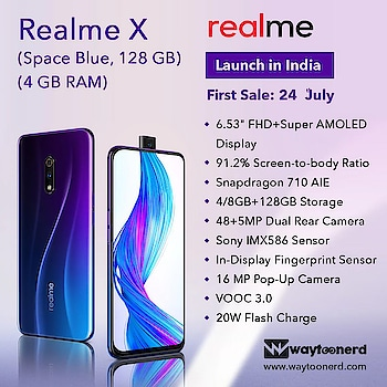 #Realme X Specification  www.waytoonerd.com  #android #androidonly #google #googleandroid #droid #instandroid #instaandroid #instadroid #instagood #phone #smartphone #mobileguru #androidography #androidographer #androidinstagram #androidnesia #androidcommunity #teamdroid #blackshark #blackshark2 #xiaomi #review #firstimpressions #realmex RealmeIndia