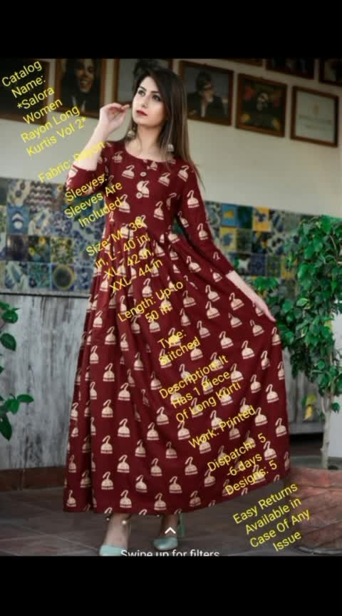 Fabric: Rayon  Sleeves: Sleeves Are Included  Size: M - 38 in, L - 40 in, XL - 42 in, XXL - 44 in  Length: Up to 50 in  Type: Stitched  Description: It Has 1 Piece Of Long Kurti  Work: Printed  Dispatch: 5-6 days  Designs: 5  Easy Returns Available in Case Of Any Issue  price:750/-  wats app us :6304788398