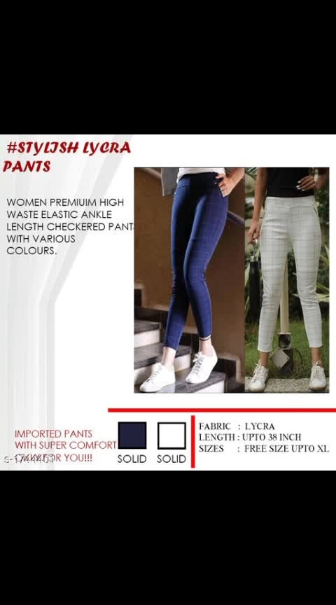 Price :₹700 only  whatsapp -9488068136 Checkout this hot & latest Western Bottomwear - Trousers & Pants Trendy Cotton Hosiery Women's Pant Fabric: Cotton Hosiery  Size: 28 in, 30 in, 32 in, 34 in, 36 in  Length: Up To 38 in  Type: Stitched  Description: It Has 2 Piece Of Women's Pant  Pattern: Checkered Sizes Available - 28, 30, 32, 34, 36