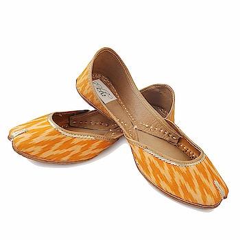 EKTA Women Ikat Ethnic Designer Jutis and Mojaris/Punjabi Juti/Casual Wear/Yellow Jutis for women  1416/- Click here for buy: https://amzn.to/2JgWeyY