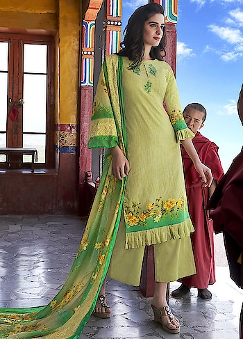 Let your inside Beauty Glow with our new Cotton Collection launched in Jinaams Zainab. Beautiful Green Casual Wear Straight Cut Style Suit features Top Cotton Satin Digitally Printed with Embroidery work and Bottom Dyed Cotton Satin.The Malmal Dupatta is Embroidered Digitally Printed that adds Grace to the Whole Dress.
