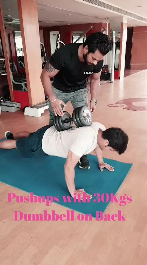 Push Ups with 30kgs Dumbbell On Back
