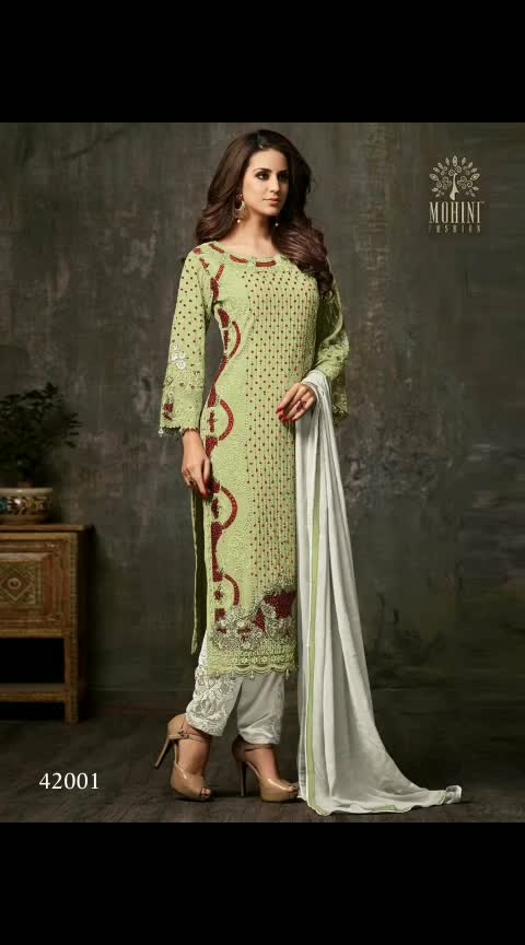 Mohini 42001 @kfhub 🔗All Store link in BOI🛒🛒🛒. . 😇 Yay' or 😕 'Nay'...?? . Leave your Comments💗 and emojis💭💭💭 . Also give rating(1➡10)😍😍😍😍😍😍😍😍😍😍 . Tag your Frds in Comments👫👬👭👨👨👧💑 . Fabric Detail : . Top:- Heavy Georgette With Embroidery & Stone Work Sleeve: Georgette With Embroidery & Stone  Inner :- Santoon  Dupatta :- Nazneen Size :- 50 Max up to Type :- Semi Stitched Weight :- 1.kg Wash: - First Time Dry Clean  #traditional  #statementpiece  #straightsuits  #salwar  #salwarsuit  #chikankari  #pearls  #sequin  #handembroidery  #lucknow  #classical  #timeless  #ageless  #effortless  #indian  #couture  #anjulbhandari  #couturier  #pasteup  #nude  #shades  #neutral  #subtleglam  #luxurylifestyle  #womensfashion  #womenwear  #fashion  #couture #wear  #shop