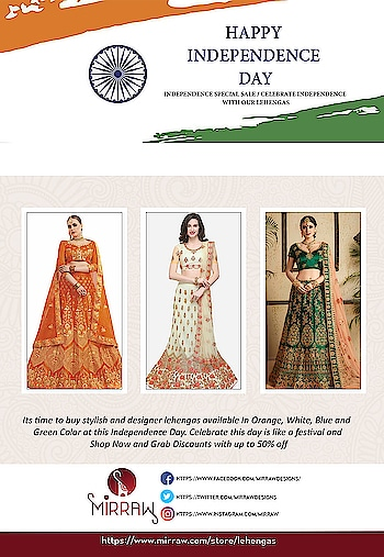 Celebrate this Independence Day with 3 colors of lehengas available at Mirraw, in affordable prices with fastest shipping world wide. Shop from : https://www.mirraw.com/store/lehengas