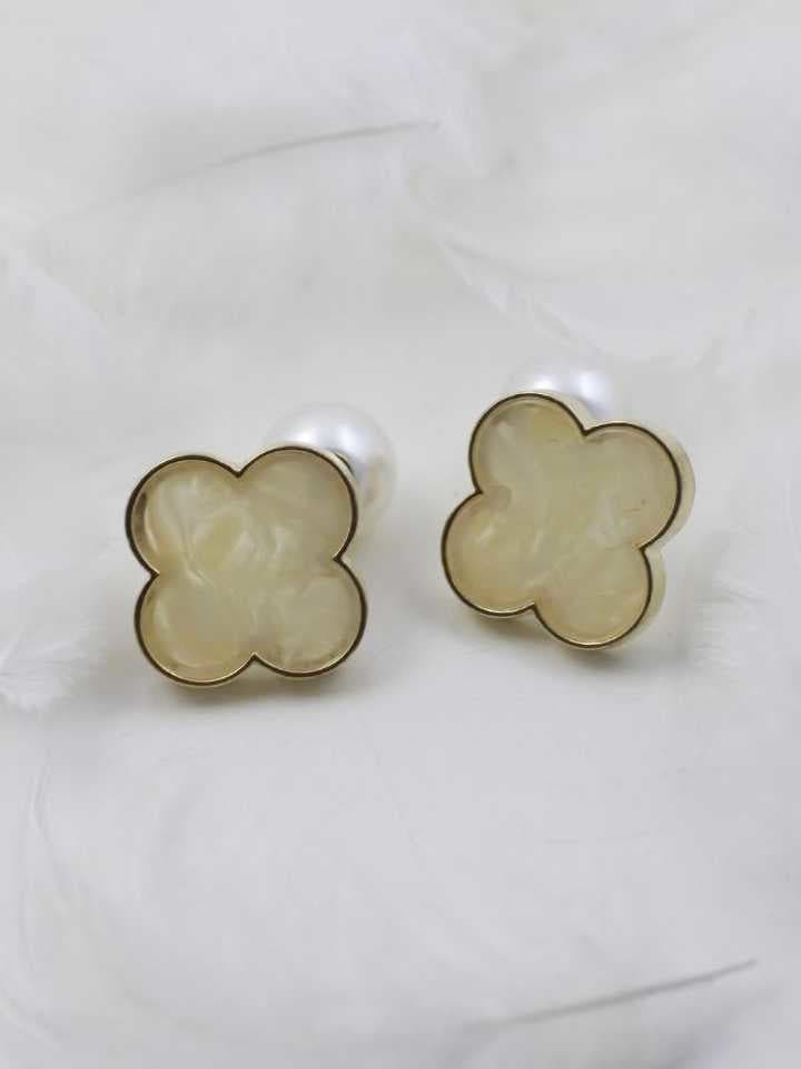 Clover Stud Earrings(Off- White) For Women Metal Earring Set   https://bit.ly/2Oq2pGU