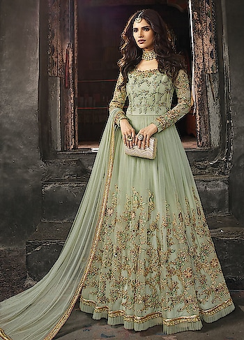 Make your way to Parties with a chic Pastel Green Anarkali in Round Net with Satin Inner.This Suit features Embroidery work.The Soft Net Dupatta with Stone Embellishments makes your Dress Exquisite.   https://www.manndola.com/aesthetic-pastel-green-party-wear-anarkali-skirt-style-suit#