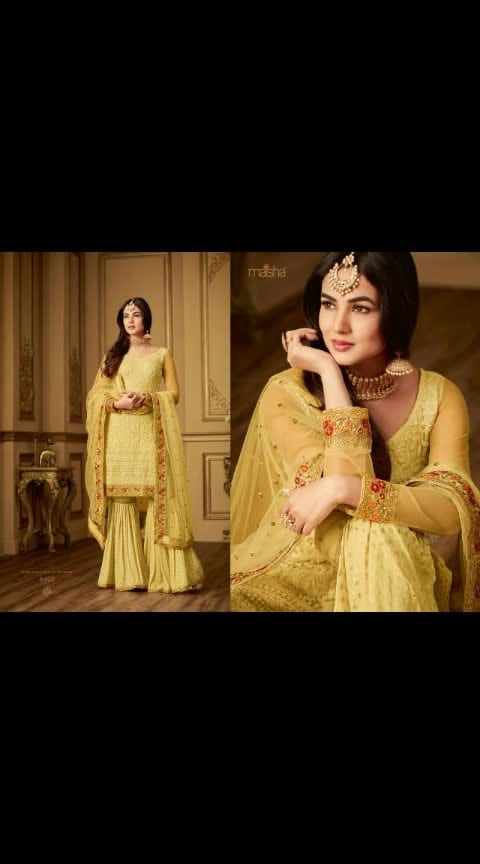 MAISHA:-6402  Plazo Style Hit Design Premium Quality Material & Fabric Details Top :- net  & multi + Sikvans work + Dimond  Sleeves :- net & multi+Sikvans work Plazo :- fensi Viskoch butti Inner :- Santoon   Dupatta :- Net with Work  Type :- Semi Stitched ( Material )  Wash :- First time Dry clean  Order now 8707825310