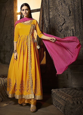 Dress Up In This Latest Collection Of Mustard Yellow Kurti And Palazzo, Features In Muslin Fabric With Intricate Embroidery And Georgette Dupatta  https://www.manndola.com/graceful-mustard-yellow-palazzo-style-suit