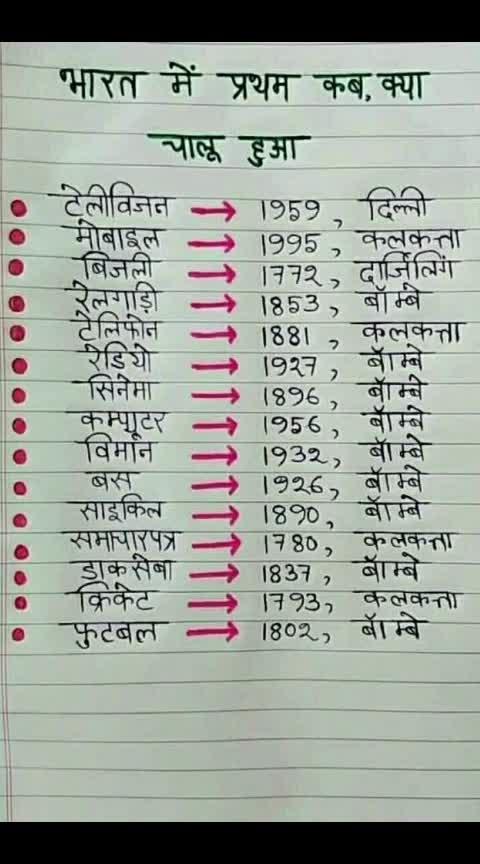 भारत मे प्रथम कब क्या चालू  हुआ । #perfectclick #perfectcurls #perfect #roposo #roposoness #roposo-masti #roposoers #indian #india-punjab #india-proud #roposo-india #like #bharat #bharatmatakijai