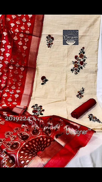 Rate:1650/- *Embroidered suits*  Pure rich flax chanderi top with fine hand embroidery Banarsi weaving silk Dupatta