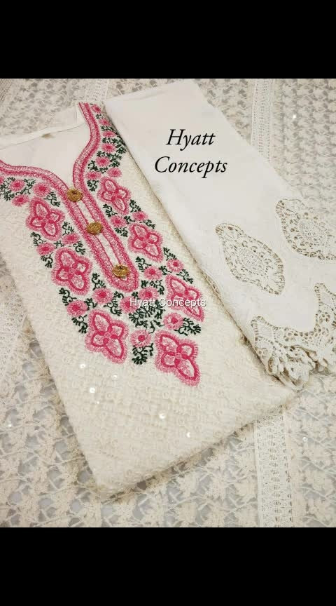 """_*Hyatt concepts*_  *Hyatt originals*  Hyatt presents premium lucknawi chikankari kurti with cutwork emrboidered plazo pants or handcrafted crochet work pants😍 😍  *Kurti* - heavy lucknawi work net kurti with 100% pure cotton lining and back  Size - 42/44/46/48 Kurti length - 46""""  Highlighted designer sleeves  *Bottom wear has 2 options*  *chikan Cutwork plazo pant* -100% pure Cambric 60x60 cotton plazzo witt embroidery and Cutwork  Size - free size Waist upto 42"""" Thigh 24"""" Length 39""""                                OR  _*crochet plazo*_ 100% premium cotton handcrafted crochet pants  Waist upto 48"""" Thigh 28"""" Length 39""""  Kurti @   ✅Without dupatta   ⭕(Kurti+chikan plazo)@  ⭕Kurti +crochet plazo @   With dupatta sets  Kurti+dupatta+chikan plazo  @  Kurti+dupatta+crochet plazo @   Only chikan plazo or crochet pants also available   👉Please specify the choice of bottom 🙏 Khup  Order now 8707825310"""