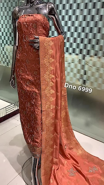 *Rate:3950/-  Dno6999 Fabric: Upada Specifications: Jaal Embroidery on shirt Bottom : Upada Dupatta : Pure dolla silk highlighted with embroidery