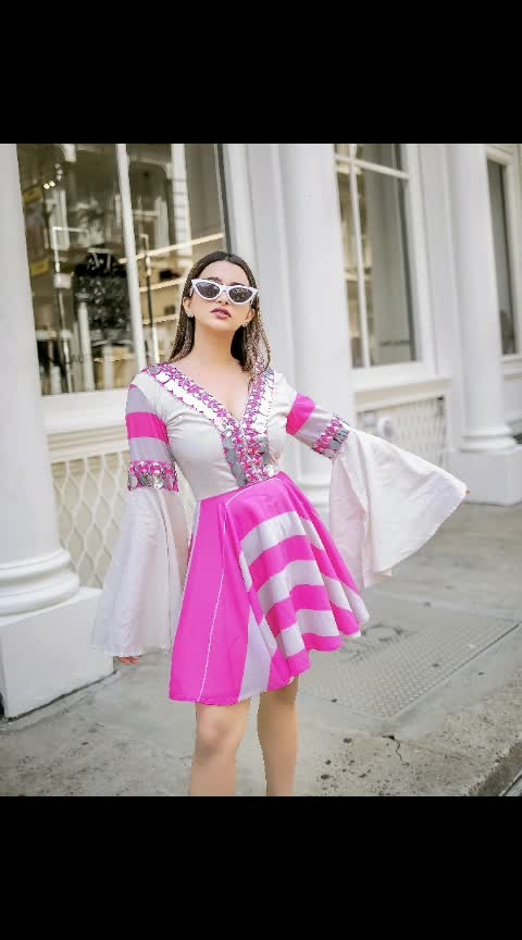 All things bright and beautiful on the streets of #newyork with @anavikalia Wearing our striped skater dress from #SpotbyNityaBajaj  Shop us at www.nityabajaj.com #LabelNityaBajaj #pink #stripes #dress #skaterdress  #SPOT #spotsr19 #spotsandstripes #summerresort19