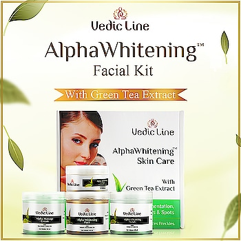 Alpha Whitening Facial Kit -------------- The skin needs a mild augmentation every once in a while. Alpha Whitening Facial is formulated to overcome pigmentation, clearing off accumulated dead cells.  With added benefits of Kojic Acid, it not only drives away excess Melanin off the skin layers which acts as a lightening agent but also protects the skin against sun damage.  So, Vedicline is here to brighten up your skin and mood, this monsoon. What else are you waiting for! ----- #FacialKits #Whitening #Vedicline #SkinMaster #NaturalFacialKit #NaturalIngredients #AlphaWhiteningFacialKit #AyurvedicFacialKit 2d http://www.vedicline.com/product/1754/alpha-whitening-facial-(for-pigmented-or-tanned-skin)