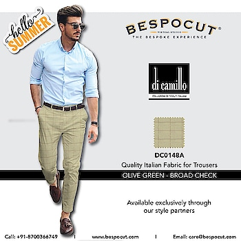 Olive Green - Broad Check di camillo - DC0148A  Contact us @ +91-8700366749 Website: www.bespocut.com  #bespocut #bespocutexperience #bespokeexperiencezone #dicamillo #italian #trouser #fabrics #olivegreen #checks #summer