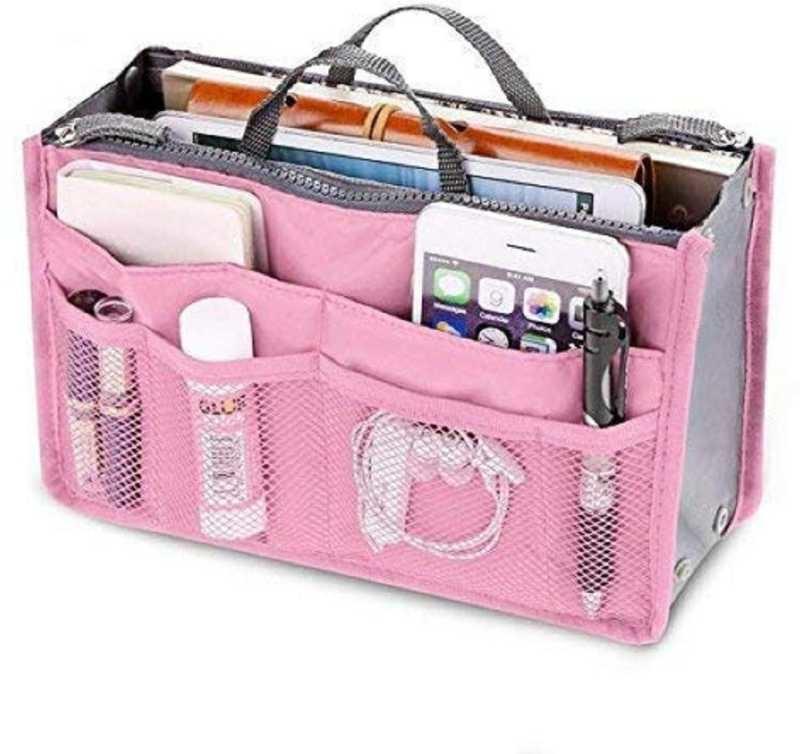 RIYANSHI ENTERPRISES  Women's Silk Multi pocket Cosmetic Handbag Organizer Cosmetic Bag  (Pink) Price 299 Click hear for buy - https://cutt.ly/owi5NpN