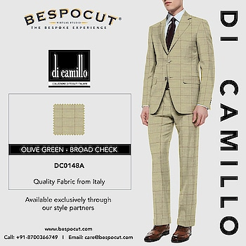 Olive Green - Broad Check di camillo - DC0148A  Contact us @ +91-8700366749 Website: www.bespocut.com  #bespocut #bespocutexperience #bespokeexperiencezone #dicamillo #italian #suits #fabrics #olivegreen #checks #summer