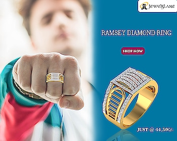 Ramsey Diamond Ring In 18k Gold. Visit - http://bit.ly/2P1lYWi #RamseyDiamondRing #rings #goldrings #diamondrings #ringsgift #Jewelslane #Aumkaara #Handmadejewellery #shopjewellery #jewellery #menrings #girlrings
