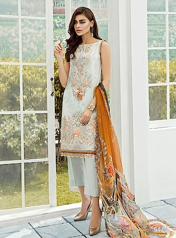 Baroque lawn with pure chiffon dupatta  and lawn bottom   book now at 9718364573