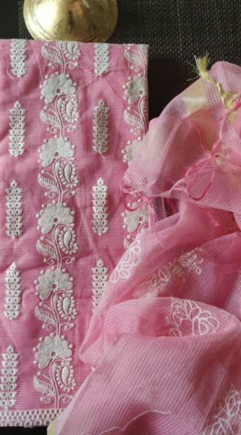 Chanderi shirts with Ari work and motiwork Chiffon embroidered dupattas Cotton bottoms @2350/+ship Ta AA