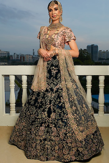 Midnight Blue Zari Embroidered Velvet Bridal Lehenga