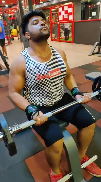 seated barbell curls close grip and wide grip#bisceps#roposo#alrazfitness