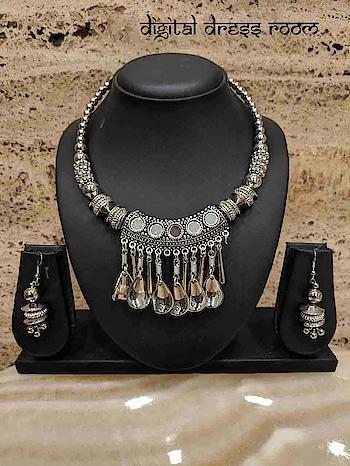Silver Oxidized Necklace Set with Navratri Rajastani Necklace with Earring❤ Item Code:(🔎14NNS07-560) #Navratri #Garba #Dandiya #SilverJewellery #Pompoms #Borla #Banjara #Jewellery #navratrijewelry #FashionJewellery #ImitationJewellery #BodyJewellery #weddingjewellery #jewelry #Navratra #navratriaccessories #mangalsutra #gujarati #gujaratifestival #southindianjewellery #navratricollection #indianwedding #indianbride #bridaljewelry #ghagracholi #necklace #necklaceset #jewelrysets #mangalsutra #oxidizedjewellery