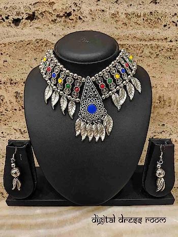 Silver Oxidized Necklace Set with Navratri Rajastani Necklace with Earring❤ Item Code:(🔎14NNS12-390) #Navratri #Garba #Dandiya #SilverJewellery #Pompoms #Borla #Banjara #Jewellery #navratrijewelry #FashionJewellery #ImitationJewellery #BodyJewellery #weddingjewellery #jewelry #Navratra #navratriaccessories #mangalsutra #gujarati #gujaratifestival #southindianjewellery #navratricollection #indianwedding #indianbride #bridaljewelry #ghagracholi #necklace #necklaceset #jewelrysets #oxidizedjewellery
