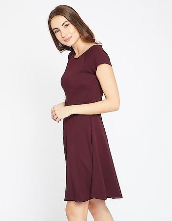 Madame - Burgundy Causal Dress  Link: https://bit.ly/2ktwd7g  #casualdress #womenfashion #top #tunics #roposo #roposofashion