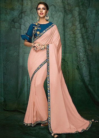 Enliven your Wedding Guest look with this Dazzling Pastel Pink Party Wear Saree features Satin Silk with Raw Silk Blouse.  https://www.manndola.com/dazzling-pastel-pink-party-wear-saree