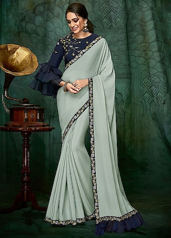 Enliven your Wedding Guest look with this Bewitching Pastel Blue Party Wear Saree features Georgette Silk with Taffeta Silk Blouse.  https://www.manndola.com/bewitching-pastel-blue-party-wear-saree