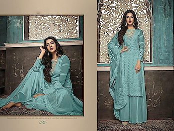 Designer Partywear Embroidery Palazzo Suits ♥ Price:- 2726/- For More Similar Visit 👉 https://bit.ly/2ILiWRZ For Order What-app us (+91) 8097909000 * * * * #salwar #salwarsuits #dress #dresses #longsuits #suitsonline #embroidered #onlinefloralsuit #floral #fashion #style #palazzosuits #shararastylesuits #classy #designer #partywear #partywearsuits #exclusive