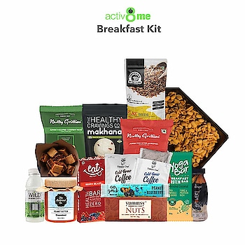 Activ8Me Breakfast Kit ( Pack of 15)  Rs. 1700/-  Click here for buy: https://amzn.to/2m3FIuo   Breakfast kit is full of delicious breakfast or anytime snacks! -Contains wide varieties of protein bars, chips, teas, and nuts. -Each product packs high protein, good fats and vitamins. -Organic teas detoxify body, much required in the morning. -100% Healthy, 0% Hassle. -No. of Products in box: 15