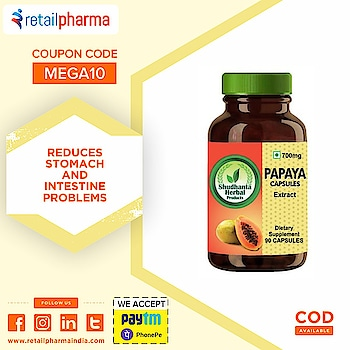 Shudhanta Herbal 100% Papaya Capsule 700mg   Shop Now-https://bit.ly/2mSOZpd  Papaya contains a chemical called papain, which is commonly used as a meat tenderizer. Papain breaks down proteins, carbohydrates, and fats.  It Help To Prevent Constipation And Promote Regularity.  #PapayaCapsule #CapsuleforConstipation #ConstipationMedicine #ShudhantaHerbal #HerbalCapsule #HerbalVegetarianCapsules #StomachPain #Retailpharma
