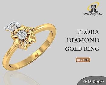 Flora Diamond Ring In 14k Gold. Visit - http://bit.ly/2BrZEKy  #FloraDiamondRings #GoldRings #DiamondRings #Rings #jewelslane #shopjewellery #handmadejewellery #gifts