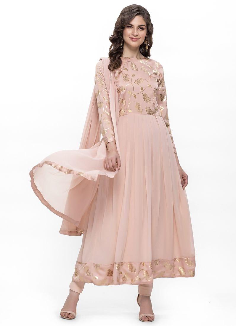 Diya Online - Peach Foil Print Flow Dress Set  Link: https://bit.ly/2oEfNKW  #peachdress #festvewear #festivecollection #roposodiaries #diyaonline #womenfashion