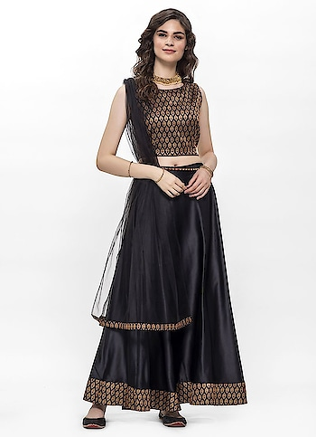 Diya Online - Chic Black Jacquard Detailed Lehenga Set  Link: https://bit.ly/2putQ65  #diyaonline #diyaoutfits #womenfashion #roposodiaries #festivewear #festivecollections